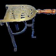 Vintage Iron & Brass Fireplace Kettle Trivet