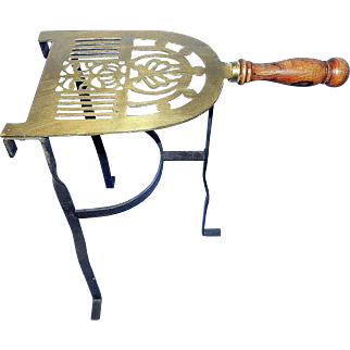 Vintage Iron & Brass Fireplace Kettle Trivet
