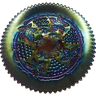 Northwood Grape and Cable Carnival Glass Footed Plate