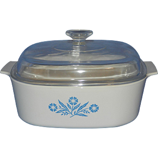 Vintage Blue Cornflower 4 Quart A-84B Covered Casserole by Corning