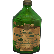 Vintage Squibb Drug Store or Pharmacy Antiseptic Bottle