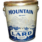 Vintage Mountain Brand Lard 8 pound Tin