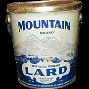 Vintage Mountain Brand Lard 8 pound Tin
