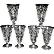 Vintage Mid Century Fostoria Heather Footed Iced Tea Glasses