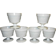 Vintage Mid Century Grape and Leaf Stippled Milk Glass Sherbet Bowls