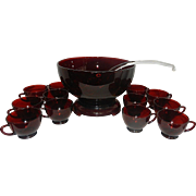 Vintage Mid Century Anchor Hocking Royal Ruby Punch Bowl with Stand, Cups, and Glass Ladle