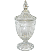 Vintage Heisey Crystal Tall Candy Dish with Intaglio Flowers and Leaves