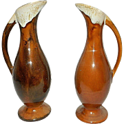Vintage Anna Van Briggle  Art Pottery Brown Drip Ewer or Bud Vase