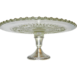 Vintage Diamond Point Cake Plate with Weighted Sterling Silver Pedestal