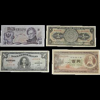 Vintage Foreign Currency- Mexico Cuba Japan Austria