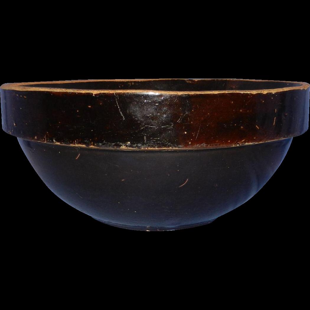 Antique Large Brown Glaze Stoneware Shoulder Mixing Bowl