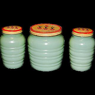 Vintage Depression Glass Range Set-Anchor Hocking Fire King Ribbed Jadite Salt and Pepper Shakers with Grease Jar