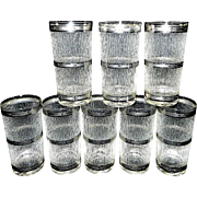 Vintage Tumblers High Ball Glasses with Non-slip Surface and 3 Silver Rings