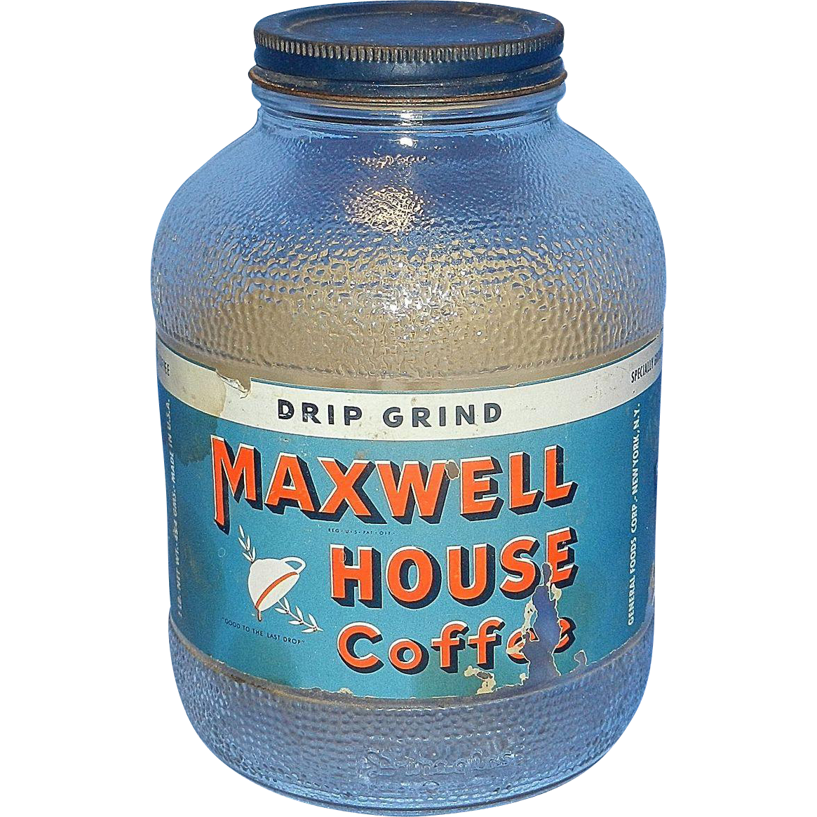 Vintage Maxwell House Coffee Jar With Original Label From
