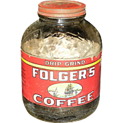 Vintage Folgers Glass Coffee Jar
