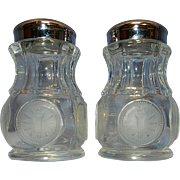 Vintage Fostoria Coin Glass Salt & Pepper Shakers 1886 Eagle & Torch & Star