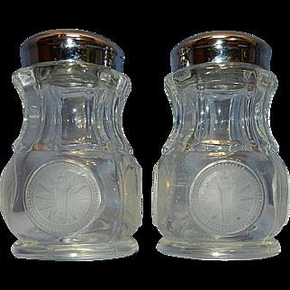 Vintage Fostoria Coin Glass Salt & Pepper Shakers 1886 Eagle & Torch & Star