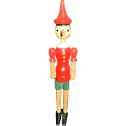 Vintage Italian Wooden Pinocchio Hand Carved Articulated Doll.