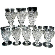 Vintage Crystal Grape Cluster Water Glasses