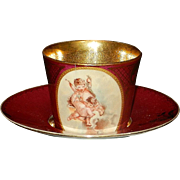 Antique Vienna Demitasse Porcelain Cup and Saucer Original Shield Beehive Backstamp