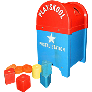 Vintage Playskool Postal Station Mailbox with Blue Wood Base