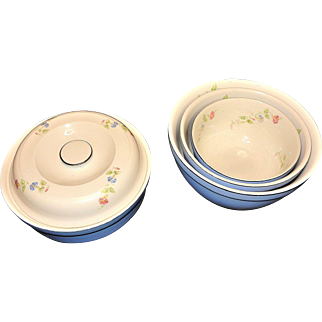 Vintage 1940's Hall's Morning Glory Nesting Bowls and Covered Casserole