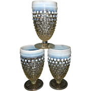 Anchor Hocking Glass Moonstone Opalescent Hobnail Footed Water Goblet 8 oz