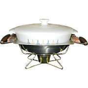 Vintage Fire King Candle Glow Chaffing Dish with Stainless Steel Holding Pan