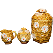 Fred Roberts Company Daisy Cream and Sugar and Cookie Jar