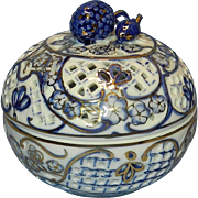 Vintage KPM Porcelain Incense Jar with 22kt Gold Accent