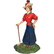 Vintage Cast Iron Victorian Woman Golfer Door Stop