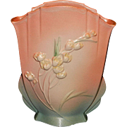 Vintage 1937 Pink Roseville Ixia Fan Vase or Pillow Vase 863-10