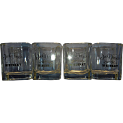 Jack Daniels Square Rocks Old Fashion Whiskey Glasses