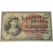Vintage Fourth Issue Fractional Currency Ten Cent Note