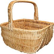 Vintage Large Hand Woven Buttock Basket