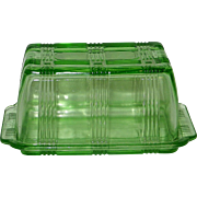 Vintage 1950s Hazel Atlas Green Criss-Cross Covered One Pound Butter Dish