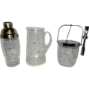 Vintage Bar Set -Pitcher Ice Bucket and Cocktail Shaker in Star Burst Design