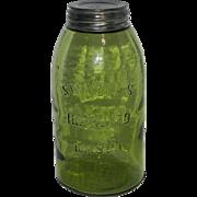 Antique Swayzee's Olive Green Improved Mason Half Gallon Fruit Jar