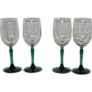 Vintage Wine Glasses with Green Stems 24kt Gold Rim