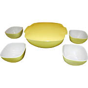 Vintage Yellow Hostess and Table Set #515B 1 ½ Quart Bowl and  #407 Ramekins