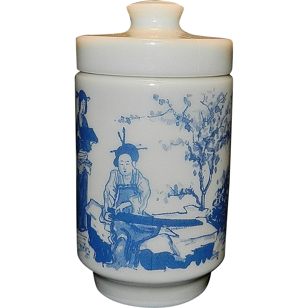 Vintage Milk Glass Apothecary Jar With Oriental Scene Made