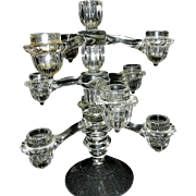Vintage Cambridge Arms Crystal 3 Arm, 4 Candle Stick Holder or Candelabra with Extension Base
