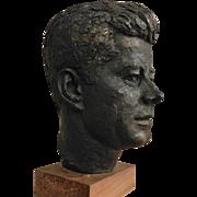 Vintage Mid-Century John F. Kennedy Plaster Head on Wooden Base Schillaci c. 1964 Austin Prod