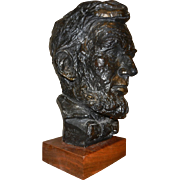 Abraham Lincoln Plaster Head on Wooden Base Austin Products