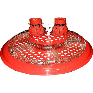 Vintage Red Gingham Lazy Susan with Glass Trays  Center Dish and Salt and Pepper