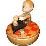 Vintage Anri Wooden Peanuts Schroeder with Piano and Beethoven Bust Music Box 1968