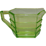 Vintage Indiana Glass Tea Room Pattern Rectangular Uranium Glass Creamer