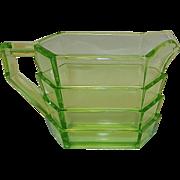 Vintage Indiana Glass Tea Room Pattern Rectangular Uranium Glass Creamer