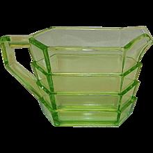 Vintage Indiana Glass Tea Room Pattern Rectangular Uranium Glass Creamer - Red Tag Sale Item
