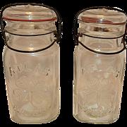 Vintage Atlas Good Luck Four Leaf Clover Quart Fruit Jars